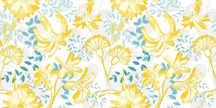 Vector yellow flowers seamless pattern background.