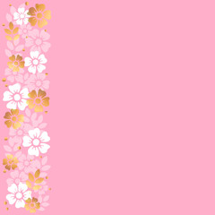 Pink background with stripe of white and golden flowers and leaves on the left side