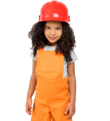 cute little girl in orange repairmen uniform and helmet isolatd on a white background