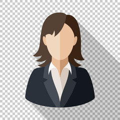 Female user icon in flat style with long shadow on transparent background