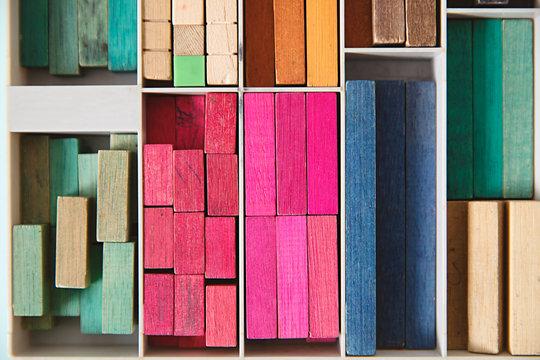 Vintage wooden cuisenaire maths rods