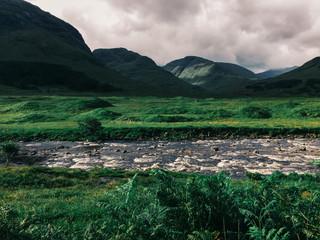 River Running Through Green Lush Scottish Highlands