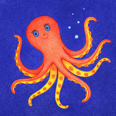hand drawn picture of swimming orange octopus under water by the color pencils. Illustration of sea life for kids