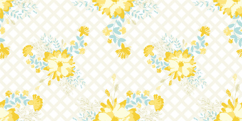 vector seamless pattern with yellow flowers on a striped diagonal background