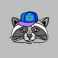 Raccoon boy dressed up in cool hip hop style. Image for print on T-shirts and other souvenir products. Cap and cigarette smokes. Hand drawn illustration isolated on gray background.