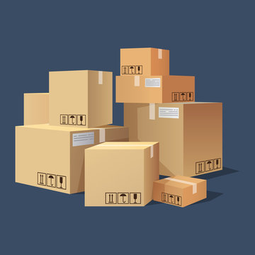 Many cartons,boxes of different size, pile of package