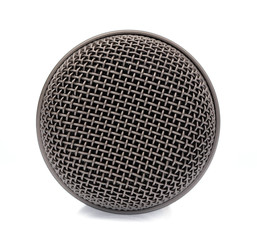 Closeup head microphone isolated on white background