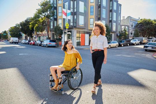 Friends crossing the street