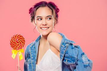 happy girl with lollipop