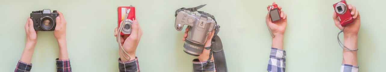 multiple hands hold various cameras isolated creative f