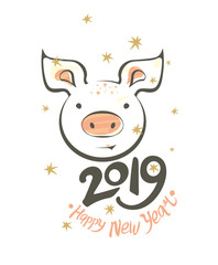 Postcard with funny smiling pig and 2019 Happy New Year. Vector illustration in sketch style. New 2019, Chinese year of the pig.