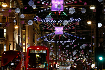The Oxford Street Christmas lights shine after being switched on for the festive season, in London