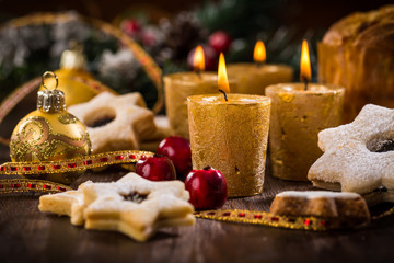 Christmas candles with homemade cookies