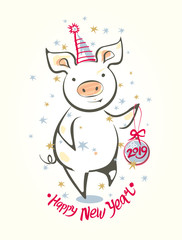Card with funny dancing pig and Christmas ball. Happy New Year! Colorful vector illustration in sketch style. New 2019 Chinese year of the pig. Festive cartoon pig.