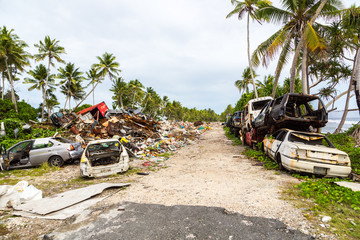 Garbage dump, landfill, Tuvalu, Polynesia, Oceania. Ecological and garbage management problems of island nations. Pollution and global warming.