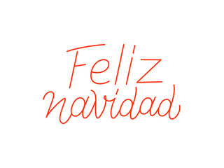 Feliz Navidad spanish Merry Christmas calligraphic line art style lettering isolated on white background. Typography text for holiday gift card design. Vector illustration