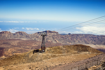 Tenerife, Canary island, Spain. Cableway (funicular) on the national park volcano Teide