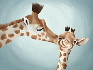 Tender mother's kiss for little giraffe. Cute illustration about big love