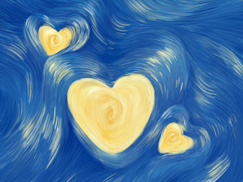 Love starry night painting. Bright illustration card for Valentine's Day, Mother's Day, Father's Day and for soulmate