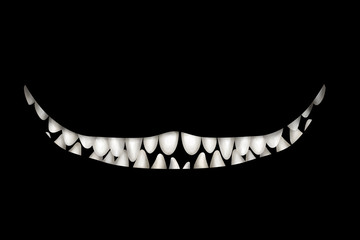 Mad wide smile with many teeth on black background. Deco element, card-, flyer- base, clip art