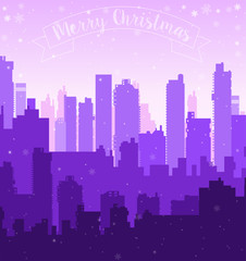 Christmas new year snow city holiday winter winter festive landscape background for decoration