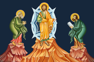 The Holy Transfiguration of our Lord God and Savior Jesus Christ. Illustration - fresco in Byzantine style.