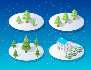 Christmas city isometric urban winter quarter in the snow and in snowflakes, snowstorms and the festive landscape of the New Year holidays
