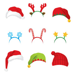 Set of headbands and hats for Christmas new year party accessories and props