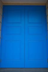 blue wood of door