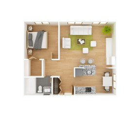 Floor plan top view isolated on white background. One bedroom one bath. Residential project 3D illustration. May be used for a graphic art, design or architectural illustration.