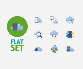 Cloud technology icons set. Search and cloud technology icons with cloud networking, cloud application and blog storage. Set of cellphone for web app logo UI design.