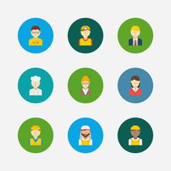 Profession icons set. Arab worker and profession icons with safety worker, construction worker and manager. Set of director for web app logo UI design.