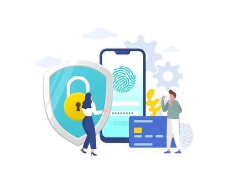 data protection with character vector illustration concept, credit card protection data system, can use for, landing page, template, ui, web, mobile app, poster, banner, flyer