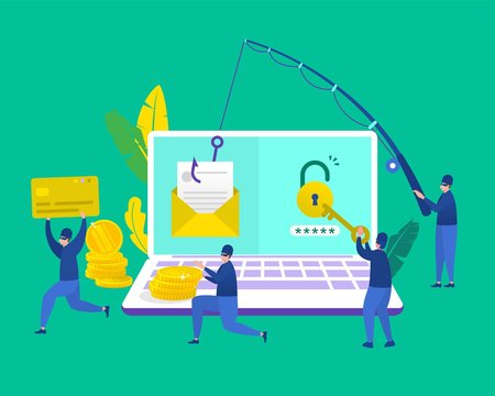 scammer, vector illustration concept hacker stealing data and doing phising via email, vector template background isolated, can be use for presentation, web design, banner ui ux, landing page, flyer
