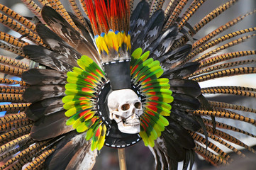 Feathers from the headdress of an Aztec dancer in Plaza de la Constitucion in Mexico City.