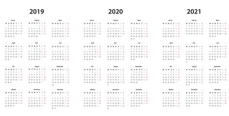 Kalender 2019 , 2020, 2021 Kalender einfache Vorlage, deutsch