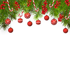 christmas tree background with fir branches and balls, isolated on white background