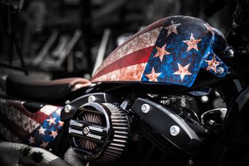 American Motorbike. Motorradmesse in Köln. Detailaufnahme einer Harley Davidson. Close-up.