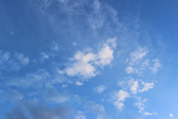 White thin clouds on deep blue sky
