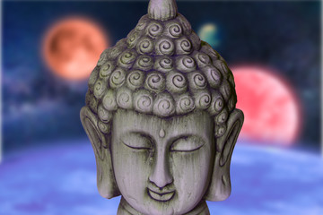 Figure of a buddha with the background space