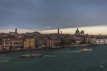 Aerial panorama of the Grand Canal and Venice on a rainy morning, Italy
