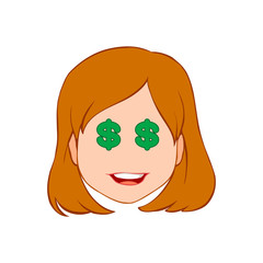 Face of a woman who dreams only about money on white background. Color illustration. Vector version.