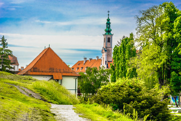 Varazdin old town baroque. / Scenic view at picturesque town Varazdin, former capital city of Croatia, european travel destination. Wall mural