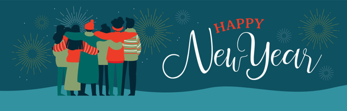 Happy New Year friend people group web banner