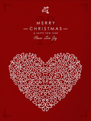 Merry christmas happy new year outline heart deco
