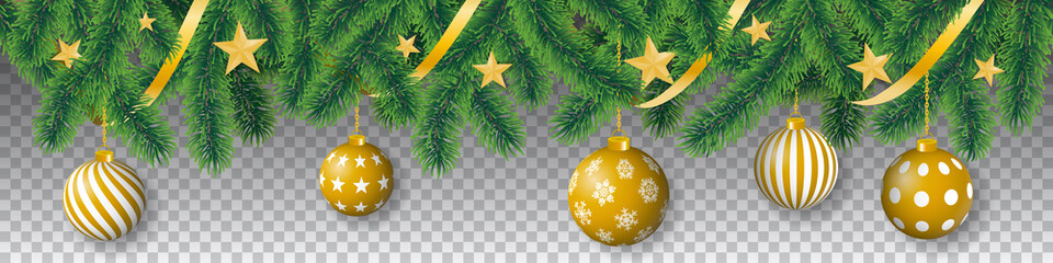 Seamless vector winter coniferous tree branches with needle leaves, golden stars, ribbons and hanging golden christmas bulbs on transparent background.