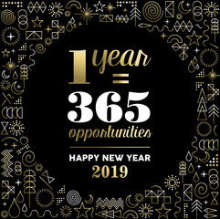 New Year 2019 inspiration quote poster gold