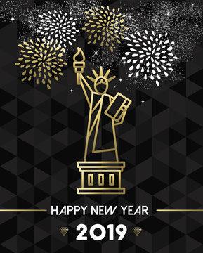 New Year 2019 NYC USA travel statue liberty gold