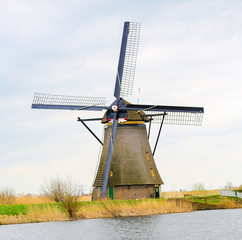 Dutch windmill in Kinderdijk near Rotterdam, Holland