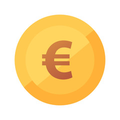 Flat vector golden icon with glow of Euro Coin isolated on white background